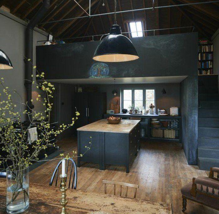 1000 id es sur le th me cuisine gris anthracite sur pinterest modele de cui - Deco cuisine industrielle ...