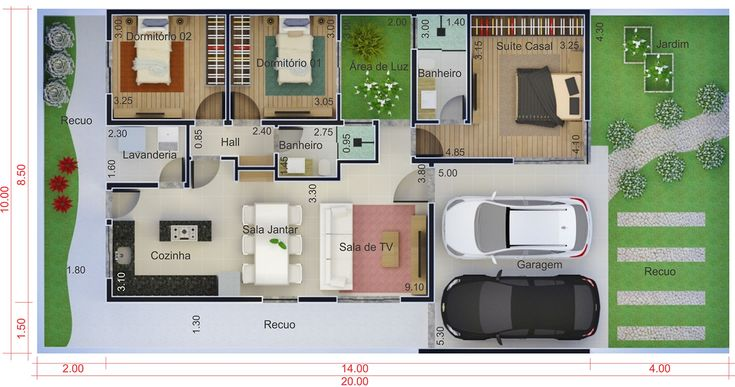 Casa para terreno de 10 por 20 metros. Planta para terreno 10x20