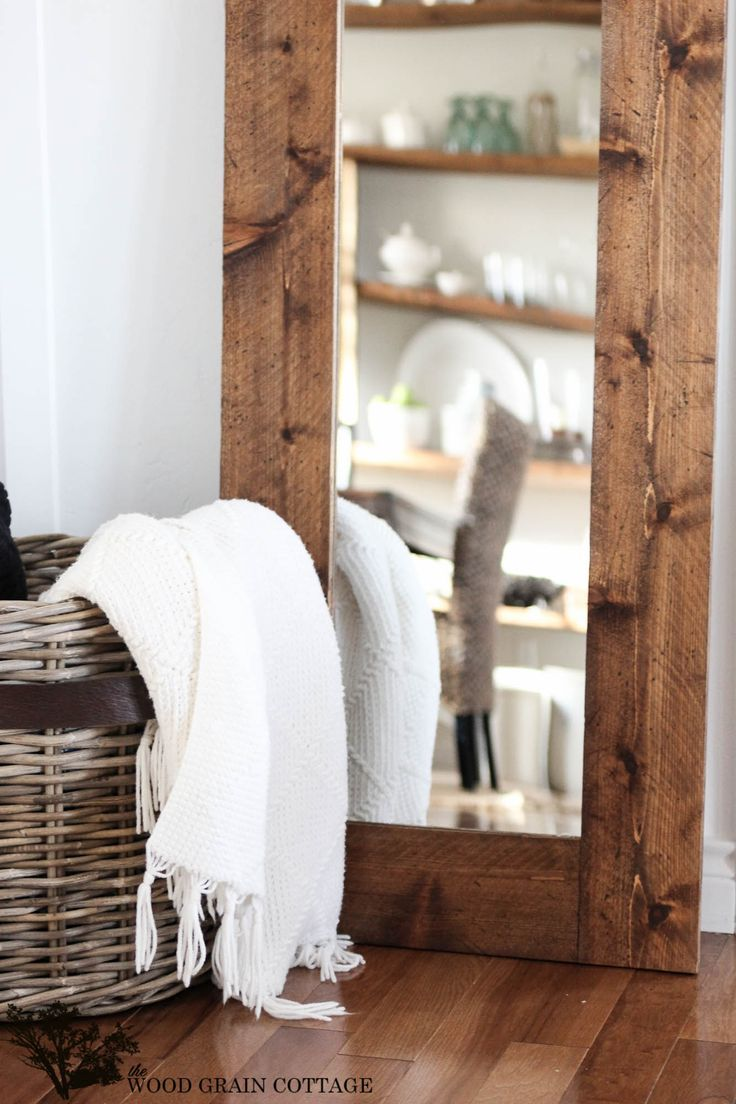 """Lately, I've found the need for a full length mirror in our bathroom. I'm always getting dressed, wondering how it all looks """"put together"""", so I finally decided it was time to change that thought process. Our master bathroom itself needs a bit of work… it's still painted that bright blue, and I am so  {read more...}"""