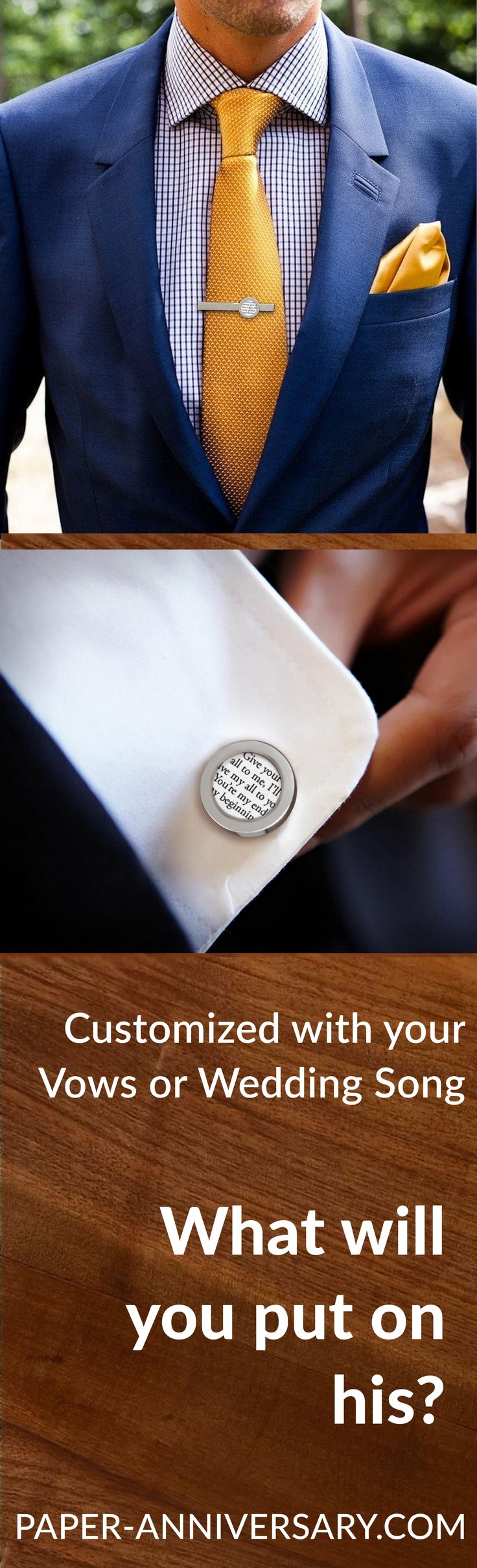 What a timeless anniversary gift for him- Custom cufflinks & tie clip with your wedding vows or song. Paper Anniversary® by Anna V will work with you to create this sentimental gift that your husband will keep forever. Design his gift today and get FREE customization!