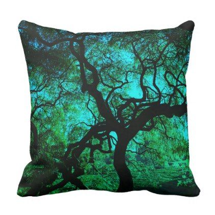 Under The Tree in Turquoise Throw Pillow - home gifts ideas decor special unique custom individual customized individualized