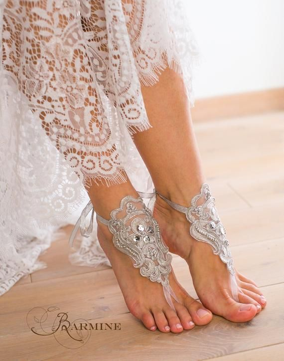 260603f27 Silver beaded Lace barefoot sandals Bridal footless sandals