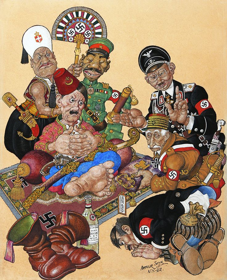 "SZYK, Arthur. Key to French Africa. Original watercolor and gouache on paper. Measures 13 ½"" x 10 ½"", New York, 1942.  In Key to French Africa, Szyk demonstrates his prowess as a political cartoonist, creating a complex image laden with meaning and aesthetic appeal.   Courtesy The Arthur Szyk Society www.szyk.org"