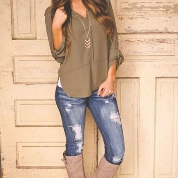 Gray Long Sleeve Lace Panel T-Shirt from brooke & west