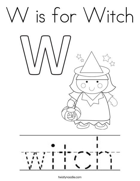 W Is For Witch Coloring Page   Twisty Noodle
