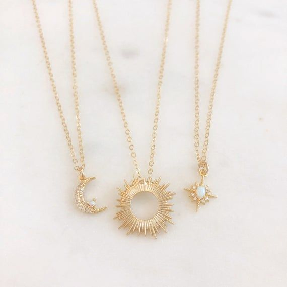 Moonstone Necklace Moon and Star Necklace Simple Boho Necklace Small Gold Charm Necklace Celestial Jewelry Gold Moon Necklace