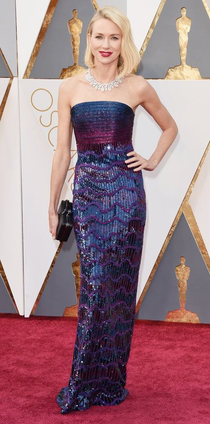 NAOMI WATTS in an Armani Privé blue-and-purple gown with a chevron pattern, plus a Bulgari diamond necklace and coordinating clutch. - 2016 Oscars Red Carpet Photos from InStyle.com