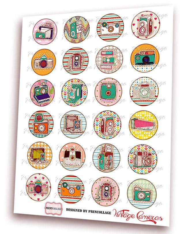 *Vintage Kamera* - Digital Kreise - digitale Bilder Cabochon Vorlage für Anhänger - Cabochon Bilder - Cabochon Vorlagen   *Artikelbeschreibung:* 4 Seiten mit 4 Größe digitale Kreise -...