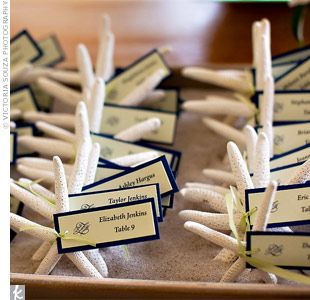 Kristine and Maciej's wedding party helped them make the seashell escort cards that doubled as favors. They were displayed in a box of sand ...
