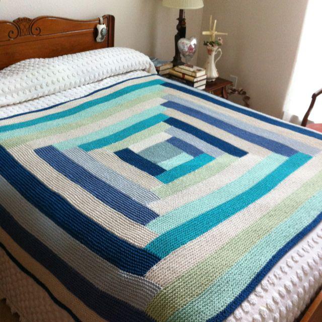 11549 best knitting images on pinterest knit crochet for Log cabin blanket