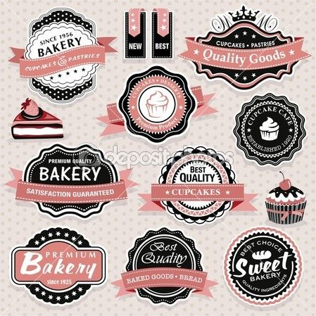 Collection of vintage retro bakery labels, badges and icons #design Download: http://depositphotos.com/13242223/stock-illustration-collection-of-vintage-retro-bakery.html?ref=5747528