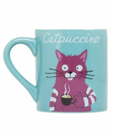 Funny, Back-to-Nature Coffee Mugs By Hatley - for the coffee lover -- cat themed capuccino mug reads Catpuccino.