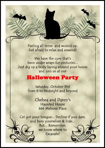 49 best wordings for holiday invitations images on pinterest use our totally scary and spooky black cat halloween party invitation wording ideas and samples for stopboris Image collections