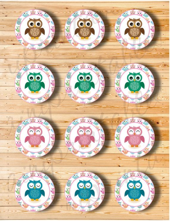 Two Digital Files  Cupcake Topper Owl by AiniPrintables on Etsy