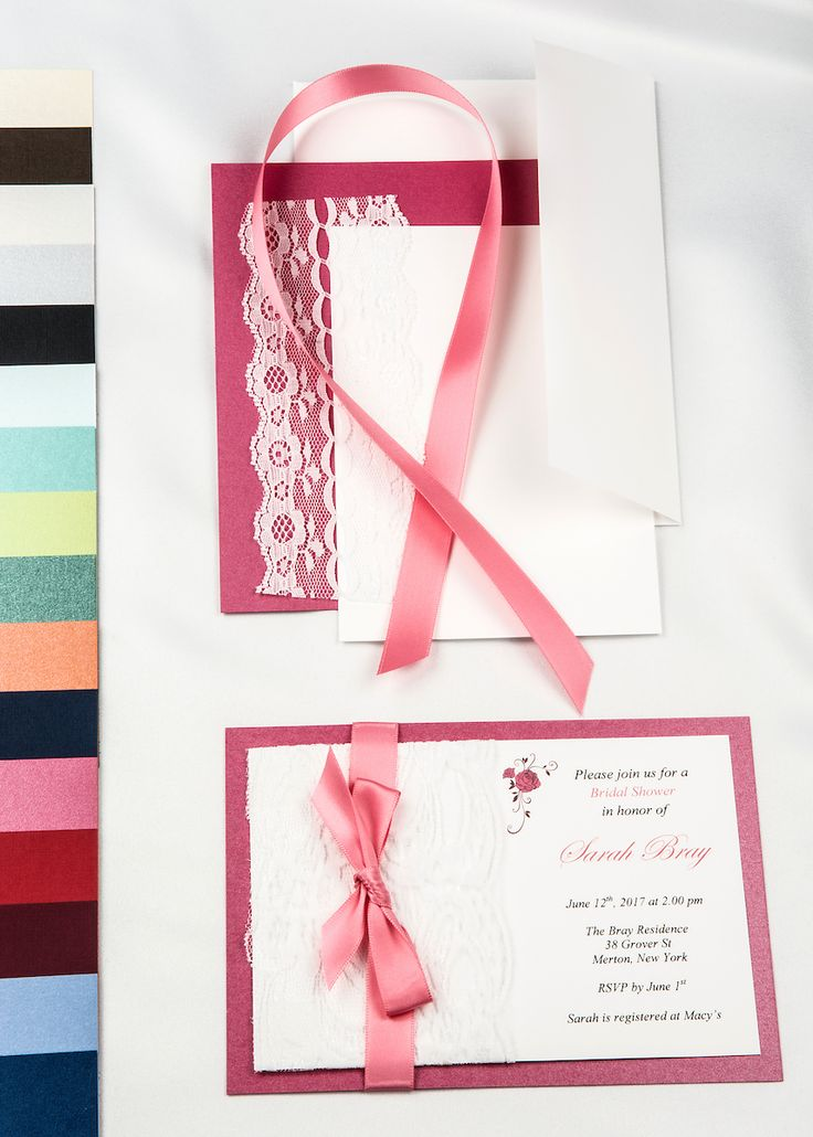Fuchsia Pink Real Lace With Double Faced Satin Ribbon DIY Invitation Kit  Make It As Unique