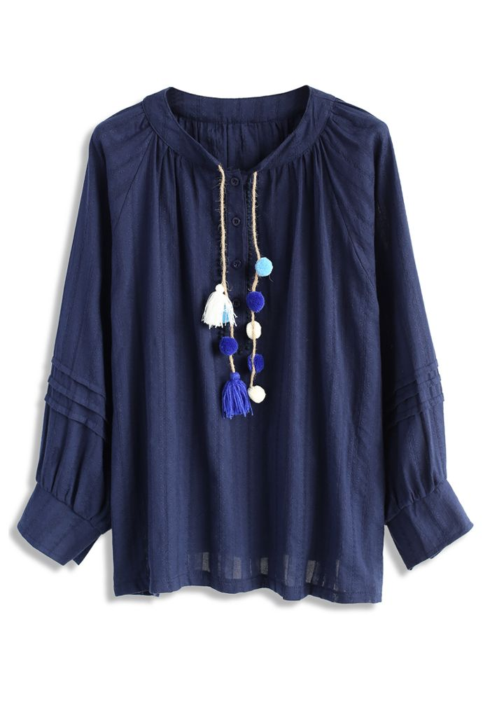 Pop of Pom Pom Smock Top in Navy - New Arrivals - Retro, Indie and Unique Fashion