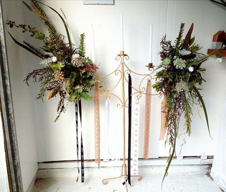 vintage goth arrangement candelabra wedding