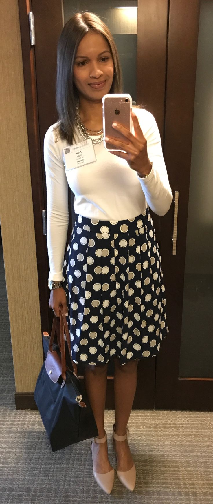 ignore the conference name badge on my outfit and pay attention to the super cute #samedelman shoes and #bananarepublic skirt!