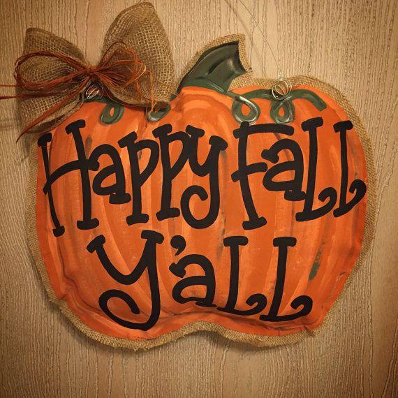 Happy Fall Y'all Pumpkin Fall decor Pumpkin by JulesTrulyDesigns