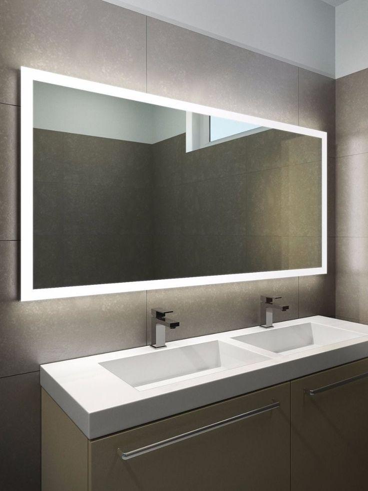 Bathroom Mirrors With Led Lights Halo Wide Led Light Bathroom Mirror 1419h Desain Kamar Mandi Rumah Minimalis