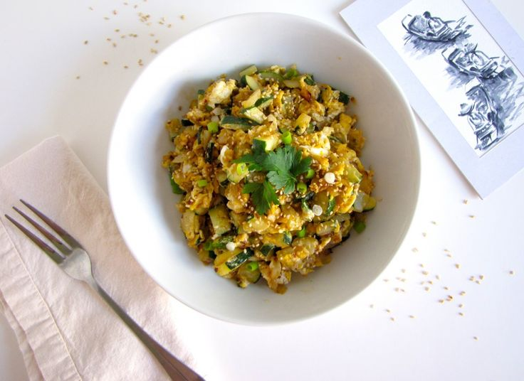 Spicy Scrambled Eggs with Zucchini