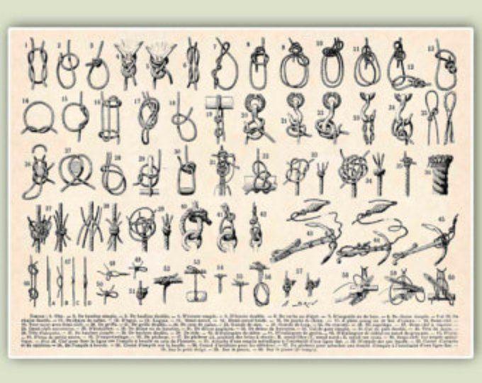 Impression de noeuds marins, marin noeuds, nœuds marins, art nautique tirages de bord de mer, Marine décoration murale, voile marins centres éducatifs 11 x 14