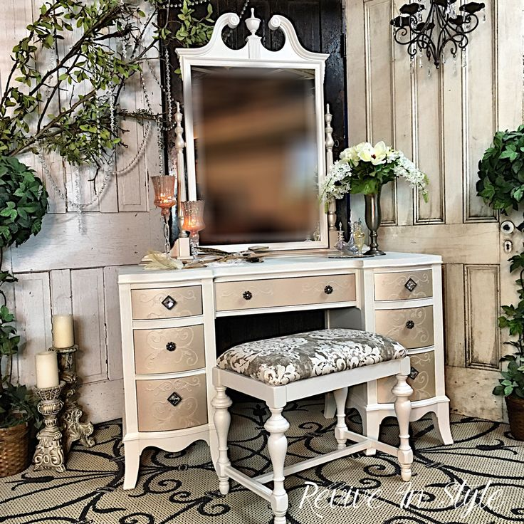 Painted Furniture. Refinished Vanity. Modern Masters, General Finishes, Heirloom Traditions
