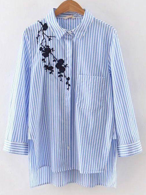 Blue Stripe Embroidery High Low Blouse -SheIn(Sheinside)