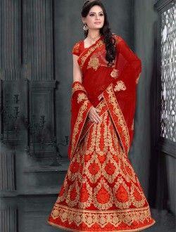 Bridal Wear Red Art Silk Heavy Embroidery Work Lehenga Choli