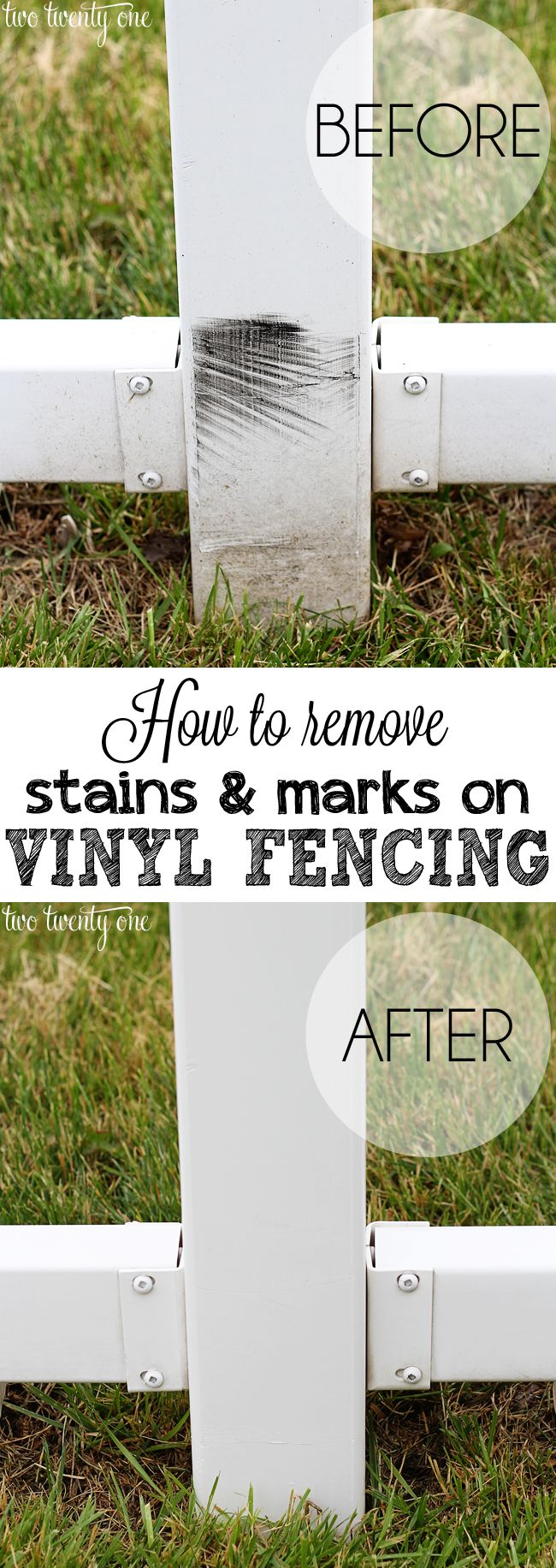 Fast and easy way to get stains and marks off vinyl fencing.