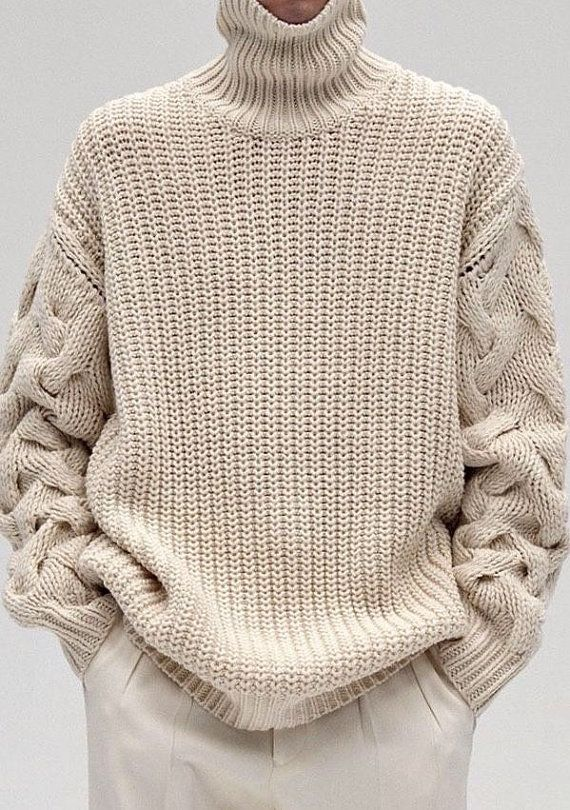 Sweater turtleneck men hand knitted made to order crewneck sweater cardigan pullover men clothing handmade men's knitting aran cabled