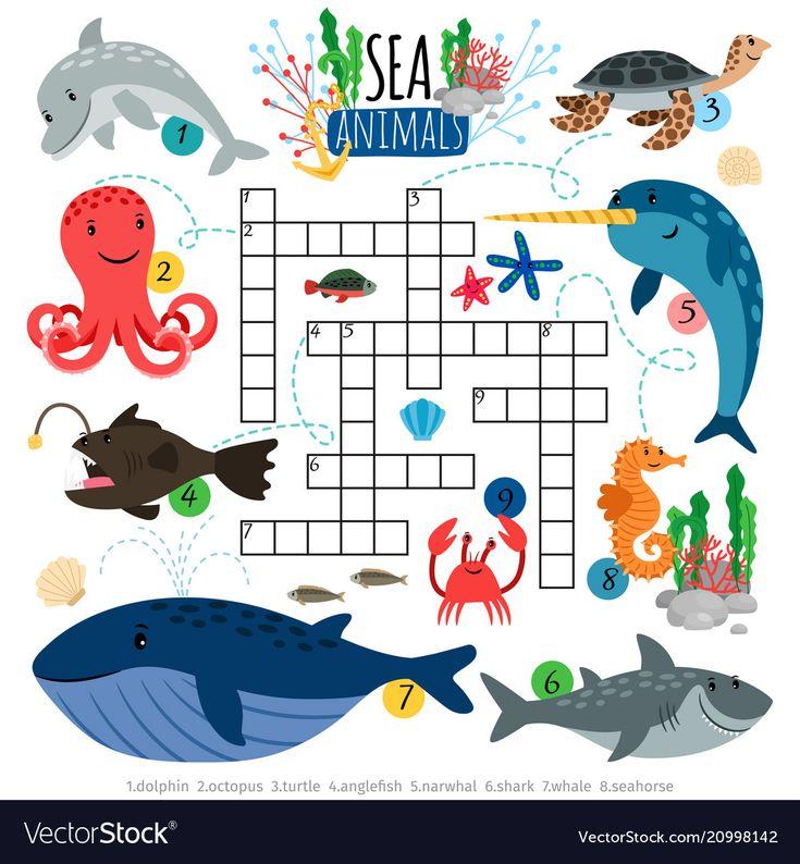 Ocean animals crosswords game for kids Royalty Free Vector