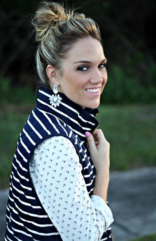 J Crew Excursion vest styled with an anchor shirt and knee boots.