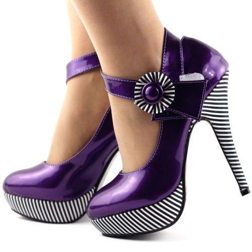 New-Sexy-Flower-Ankle-Strap-Stripe-High-Heels-Platform-Pumps-Size-4-5-6-7-8-9-10