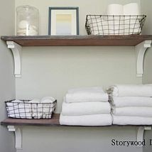 Old Table Leaves Turned Bathroom Storage!