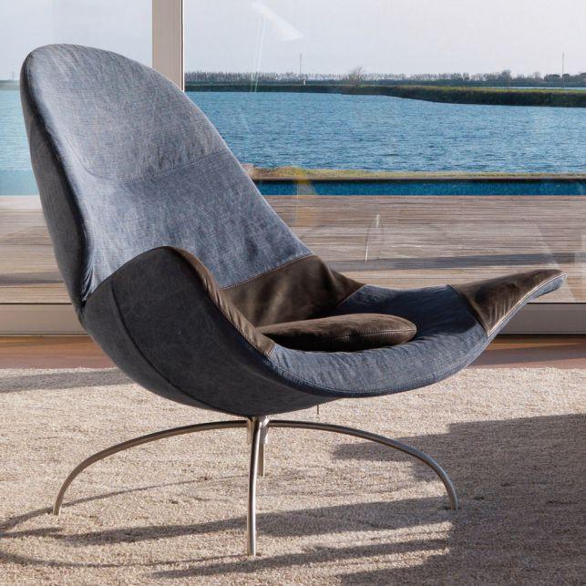 Original design fireside chair / swivel / star base / fabric CLOÈ désirée divani