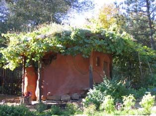 A cob garden shed with living roof (good place to start) (via busyboo)