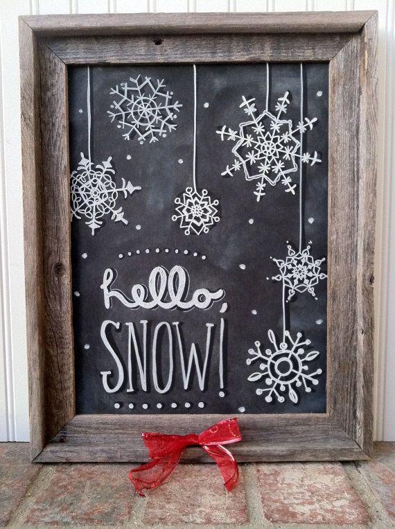 Hallo Snow Snowflake krijt kunst Instant door MainStreetChalk