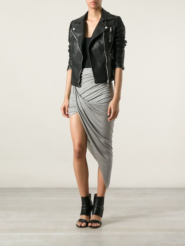 0 Helmut Lang's Kinetic Gray Asymmetric Skirt