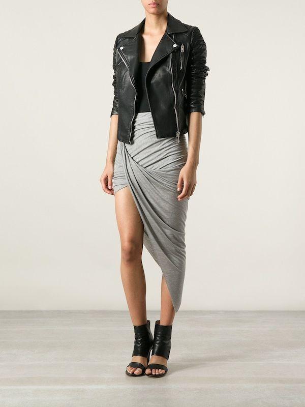 0 Helmut Lang's Kinetic Gray Asymmetric Skirt