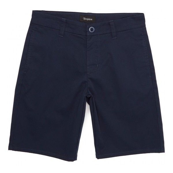Brixton Carter Chino Shorts - Navy (£18) ❤ liked on Polyvore featuring shorts, navy blue shorts, navy chino shorts, chino shorts, navy blue chino shorts and navy shorts
