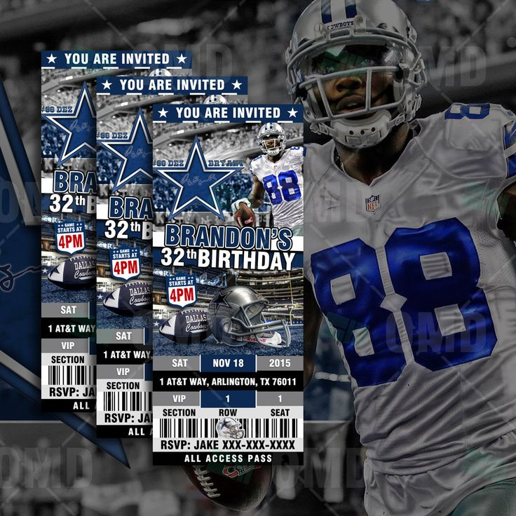 Dallas Cowboys Sports Party Invitation, 2.5x6 Sports Tickets Invites, Football Birthday Theme Party Template by sportsinvites on Etsy