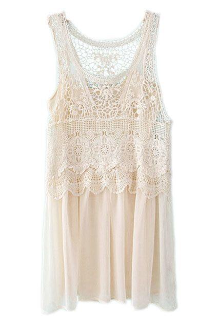 ROMWE | Sleeveless Lace Crochet Chiffon Cream Dress, The Latest Street Fashion #ROMWEROCOCO