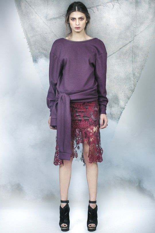 #ALMAZ Contrast Colage Lace Dress with Sleeves