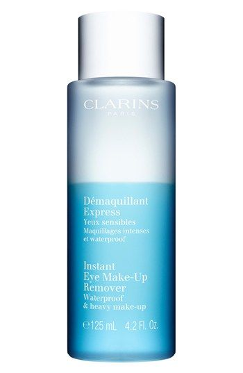 Clarins Instant Eye Make-Up Remover available at Nordstrom. Clarins instant eye make-up remover is a gentle formula suitable for removing heavy makeup. Put on cotton pad, place over the eye for 10 seconds and swoosh off.
