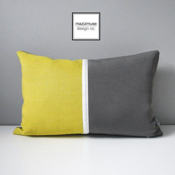 Grey U0026 Acid Yellow Outdoor Pillow Cover Decorative Pillow