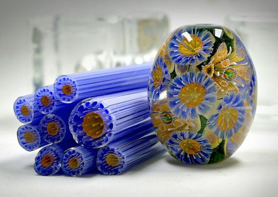 Murini of high complexity, made at a high quality level. COE 104 Price for one stick of 10 cm . You can make 22-25 pieces of murrini from one stick You can see how to apply murrini flower here: https://youtu.be/MKcqendiB8w