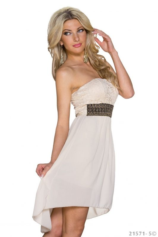 Beige strapless jurkje  met sierlijke band