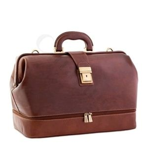 Red leather medical bag