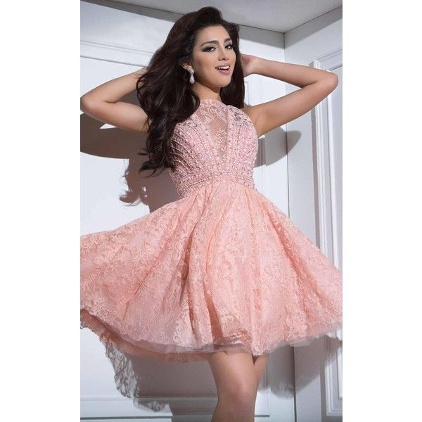 Tony Bowls TS21689 Bat Mitzvah Dress Mini High Neckline Sleeveless featuring polyvore, women's fashion, clothing, dresses, coral, formal dresses, pink homecoming dresses, pink prom dresses, short formal dresses and lace dress